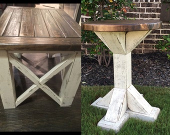 Set of 2:Rustic Farmhouse End Tables, Chabby Chic End Tables, Distressed White End Tables