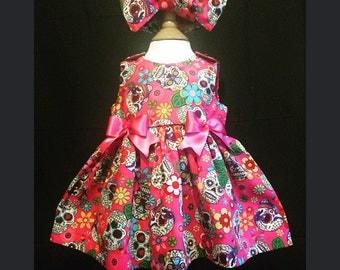 Skeletots baby girl pink sugar skulls dress newborn to 24mth  baby girl