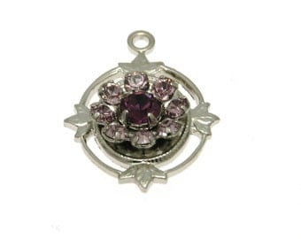 Clearance Sale Swarovski Filigree Silver Plated Light Amethyst & Amethyst 1-Pc, Filigree Pendant, Article # 62012 Lt. Amethyst and Amethyst