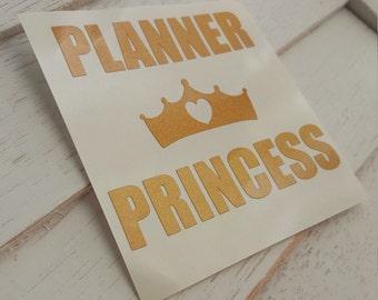 Planner Princess Vinyl Decal- Gold
