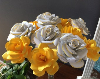 Set of yellow paper roses book page with painted tips stemmed flowers dyi bouquets, centerpiece, gift, home decor