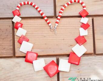 Tibetan Yak Bone Necklace,Tibetan Necklace,Bone Jewelry,Blue Necklace,Bone Carved Necklace,Red Bead Necklace,Beaded Necklace,Free Shipping