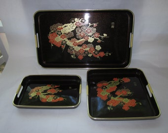 Lacquer Ware Oriental Tray Set, Made In Japan , imported by Davar Products
