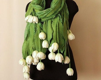 Very Unique OOAK Tulips Flower Stole. Green with White tulips Wool Felted Fashion Wrap Stole. Wool felted Tulips Spring stole .