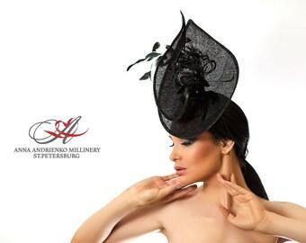 Fashion Millinery Ornate Royal Ascot horse race hat, Black Fascinator, Melbourne cup hat, Wedding quest tea party hat, couture derby hat