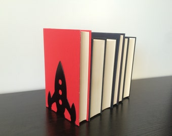 Rocketship Bookends  - Metal Bookends - Unique Gift - Metal Art - Custom - Children's Bookends - Modern B0okends
