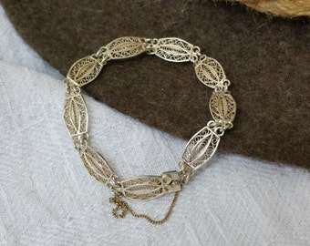 835 silver bracelet Art Nouveau style filigree SA204