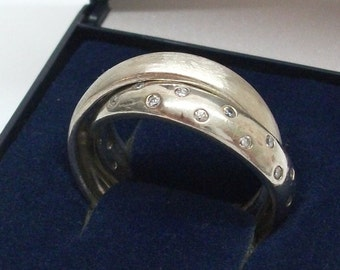 Ring 925 Silver double ring with Crystal stones size 21 mm, size 11.4 SR176