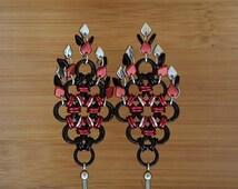 Black Red Silver Earrings, Diamond Fringe Earrings, Czech Beads, Chain Maille Earrings, Trendy, New Age Hippie, Chic, Date Night