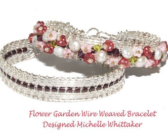 Flower Garden (Or Plain) Wire Weave Bracelet Tutorial PDF