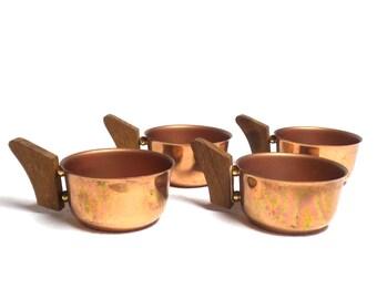 Vintage Teak and Copper Tea Cups