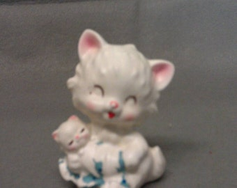 White Kitty Cat with Pink Ears and Cheeks Figurine