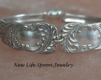 "Spoon Bracelet ""Monarch"" 1889 Vintage Bracelet Antique Jewelry Handmade Gift Valetine Silverplate Jewelry Spoon Jewelry-352"
