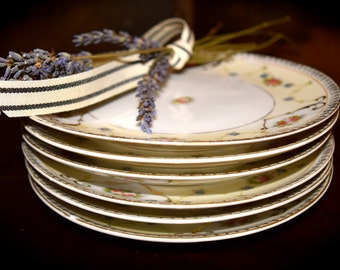 Set of 6 Fine Bone China Butter Plates Gold Leaf W/ Flowers  Sku: K172