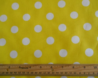 Yellow with White Dots cotton fabric by the yard