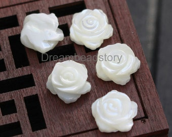 2 Pieces Natural White Shell 10mm Rose Flower Side Drilled Beads (HX212)