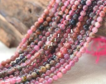 Natural Watermelon Tourmaline Beads, Round 4mm 5mm 6mm Red and Green Tourmaline Gemstone Beads (JY155)