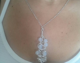 Lucky ladder chain.  Natural white stone necklace 55 cm