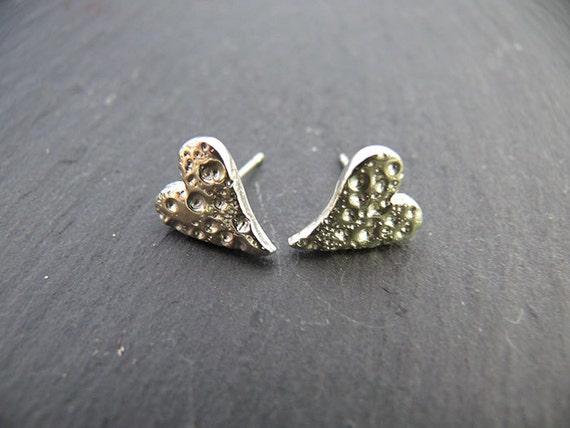Silver Earrings - Silver Studs - Silver Heart - Earrings - Sea Urchin Textured Studs - Heart Studs
