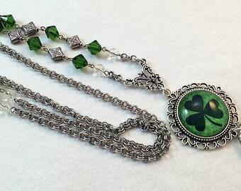 Irish Shamrock Lanyard, St. Patrick's Day,   Beaded Lanyard, Silver Chain Lanyard, Lanyard ID Holder, Badge Holder, Breakaway option)
