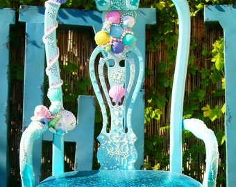 Little Mermaid accent chair perfect for a girl room full of details unique and exclusive. shells crystals and pearls decoration