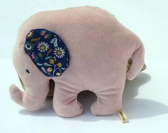 Elephant plush bio, doudou elephant baby, blue elephant, pink plush, velvet, gift birth, green toy elephant toy