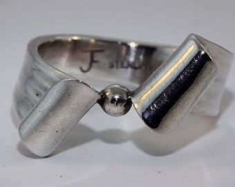 Sterling & Fine Silver Hand Forged Ring - Size 8 1/2