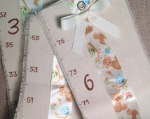 Canvas Growth Chart - Canvas - children's wall art - created with love just for you! fox fabric denim height chart ruler