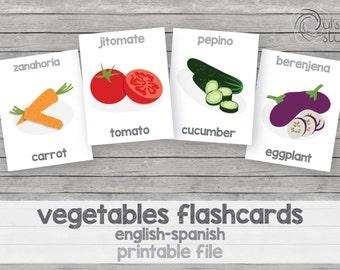 Printable kid's vegetables flashcards, english-spanish
