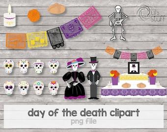 Day of the death, catrina, catrin, calaveritas de azúcar, calaca, pan de muerto, veladora, flor de cempasúchil, altar de muertos