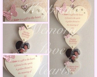 Birthday gift for Sister personaliesd wooden keepsake heart