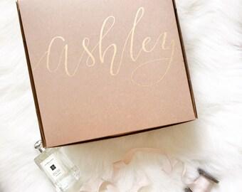 Personalized Calligraphy Kraft Cardboard Gift Box - bridesmaid, groomsmen, wedding welcome