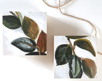 "Ficus Elastica Still Life Pair, 4"" x 4"" each, original plant painting, oil on wood panel"