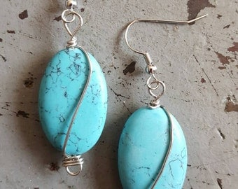 Turquoise wrapped Earrings