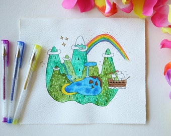NEVERLAND - original illustration - watercolor - hand made