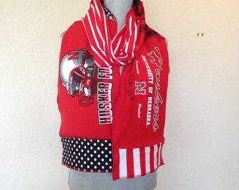 Nebraska Cornhuskers T-shirt Scarf, Huskers Spirit scarf, NEB10, Go Big Red
