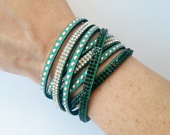SALE! Green Rhinestone/Suede Doublewrap Adjustable Bracelet - 12 colors to choose from!