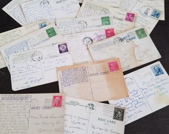 16 stamped post cards 1930's - 1960's