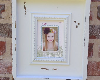 Distressed, white shadow box picture frame for a 5x7.