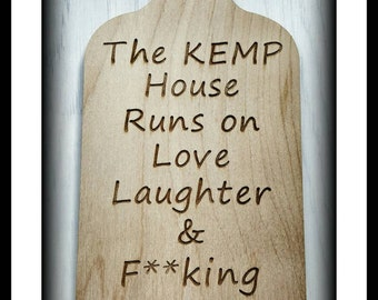 Sweary Wall Plaque Bottle wine Gin Vodka Prosecco  Rude Cheeky Gift Adult Home Wooden Engraved Personalised Family Name