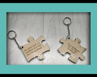 Jigsaw 2 piece set , His &Hers  Engraved My other half is a Knobhead but Hey!he's My knobhead, I am a knobhead but i'm her knobhead Keyring