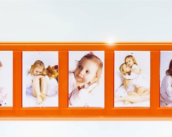 """orange  9.5x33"""" magnetic wall mount easy change picture photo frame for 5x 5x7"""" photo frame high gloss finish"""