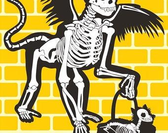 Wizard of Oz Flying Monkey Bones Postcard