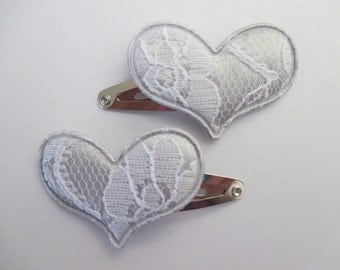 Baby/Toddler/Child Snap Hair Clip Set of 2 -  30 mm - 3 cm - Lace Hearts - Silver