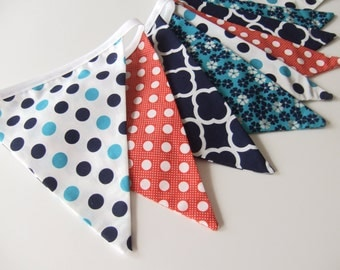 Blue and Orange Bunting, Polka Dot Bunting, Fabric Flag Banner, Beach Party Decor, Preppy Decor, Summer Party Decor, Nessa Foye