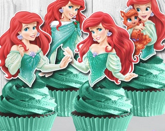 Princess ARIEL Cupcake Toppers, The Little Mermaid Cupcake Toppers, Cupcake Picks, INSTANT DOWNLOAD