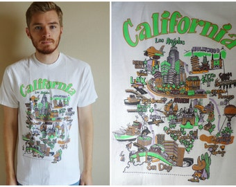 MEDIUM 90s California Los Angeles & San Diego Weird Cartoon T-Shirt