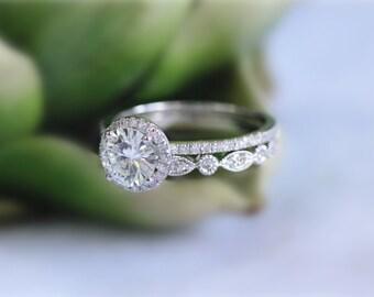14K White Gold Wedding Ring Set Moissanite Ring Set 1ct Brilliant Moissanite Engagement Ring Set Solid
