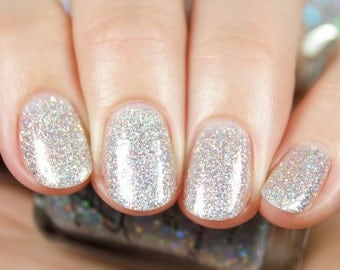 "Crushed Diamonds"" Silver Holographic Glitter Polish -  Full size 15ml bottle."