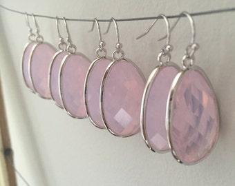 Pink bridesmaid earrings. Set of 4 SALE!